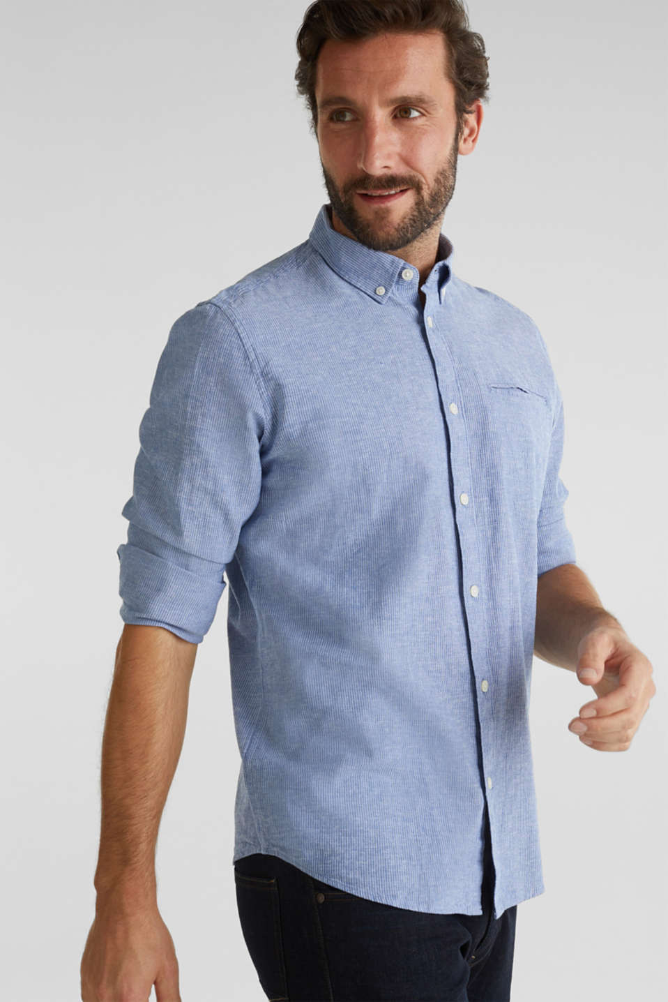 Blended linen: pinstripe shirt, LIGHT BLUE 3, detail image number 6