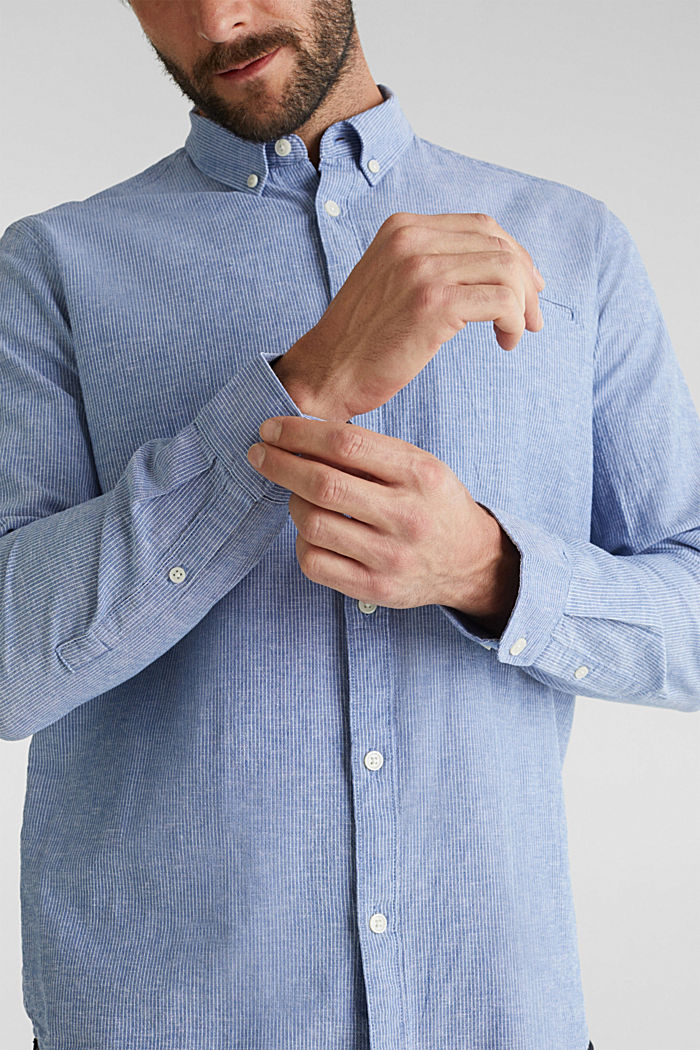 Blended linen: pinstripe shirt, LIGHT BLUE, detail image number 2