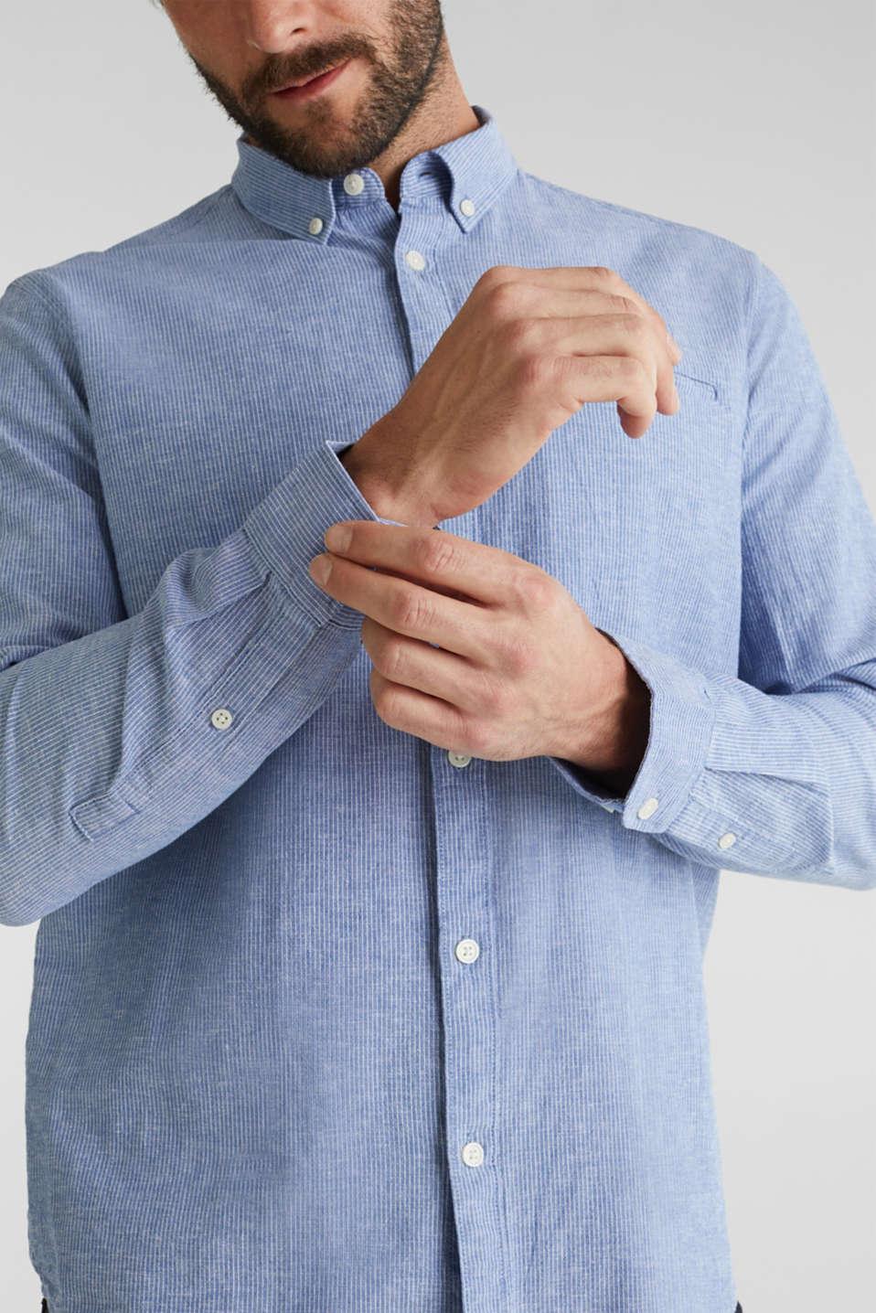 Blended linen: pinstripe shirt, LIGHT BLUE 3, detail image number 2