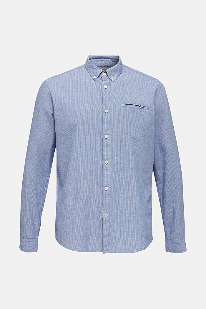 Blended linen: pinstripe shirt, LIGHT BLUE, detail image number 7