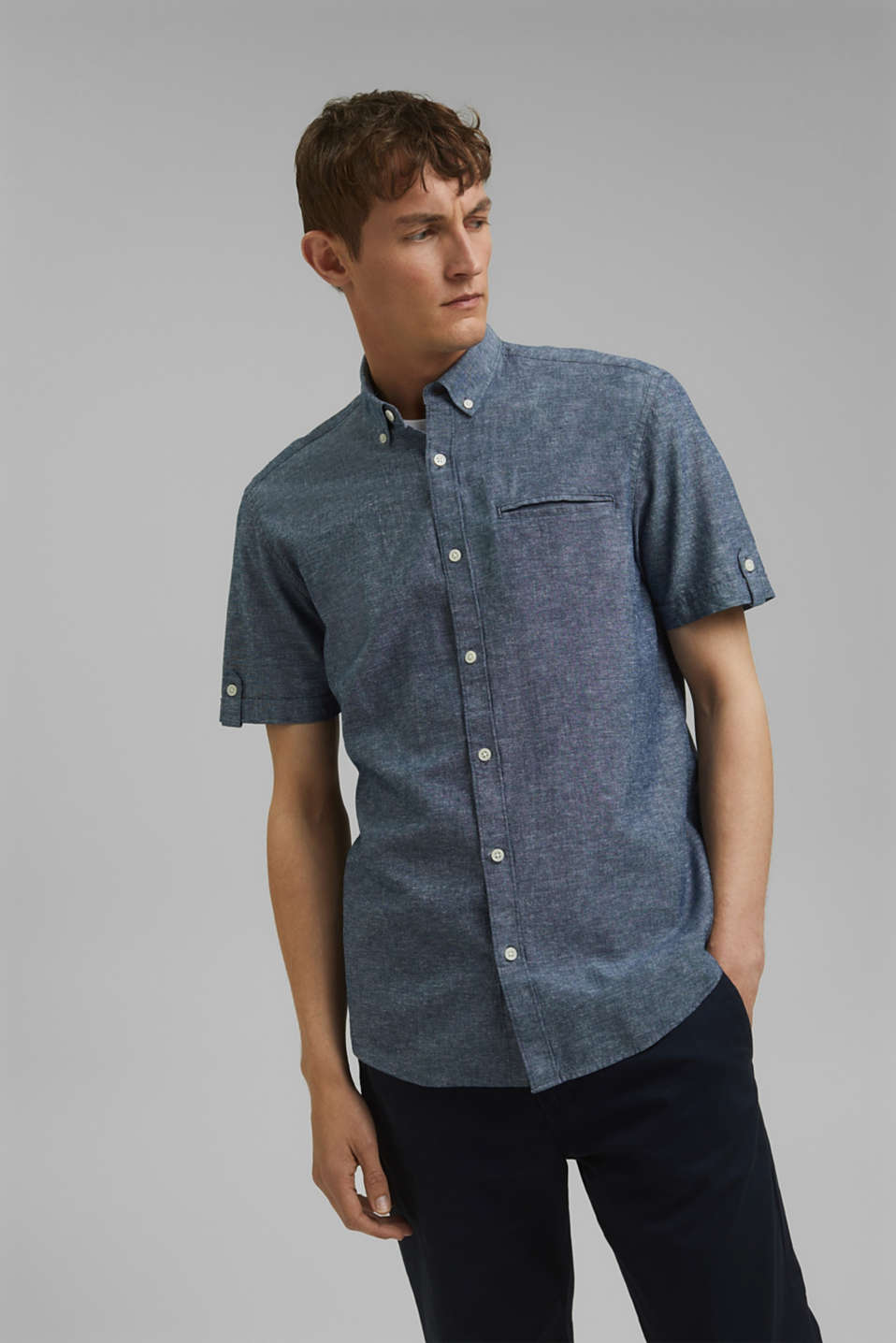 With linen: short-sleeved shirt, NAVY 5, detail image number 0