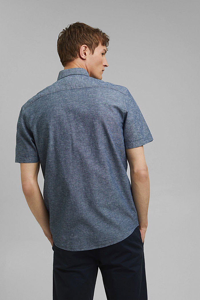 With linen: short-sleeved shirt, NAVY, detail image number 3