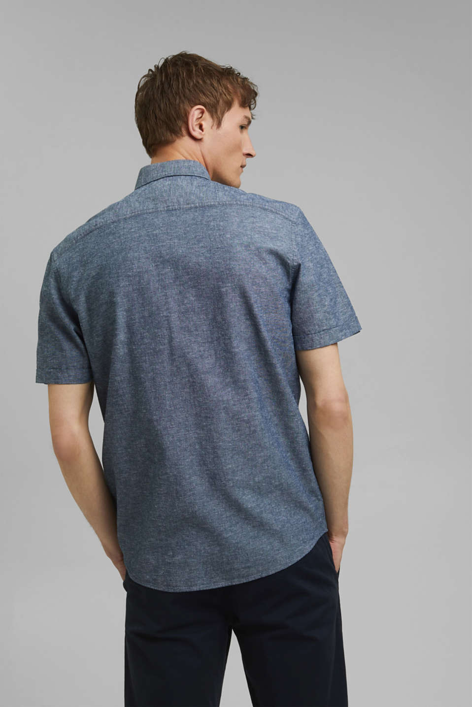 With linen: short-sleeved shirt, NAVY 5, detail image number 3