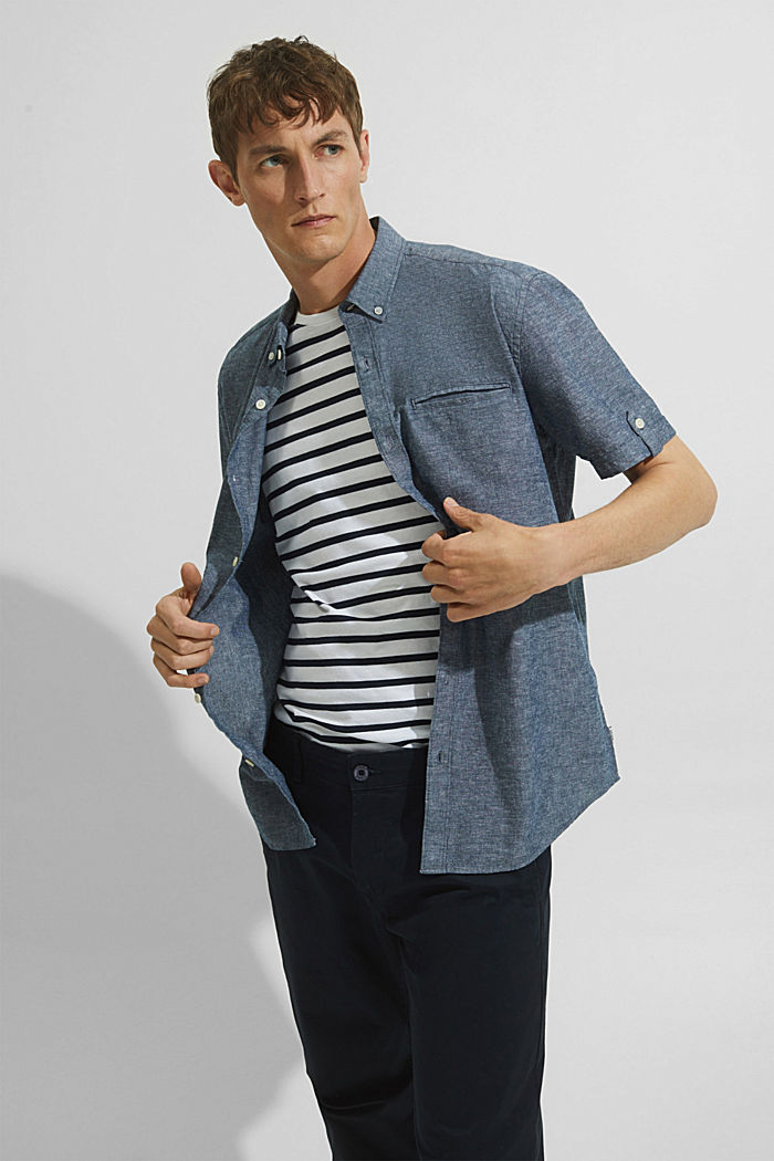 With linen: short-sleeved shirt, NAVY, detail image number 6