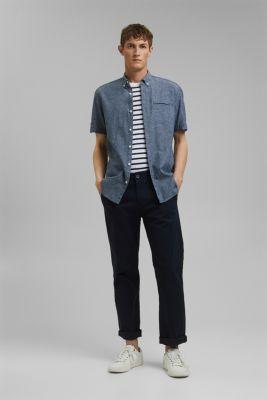 Blended linen: melange short sleeve shirt, NAVY 5, detail