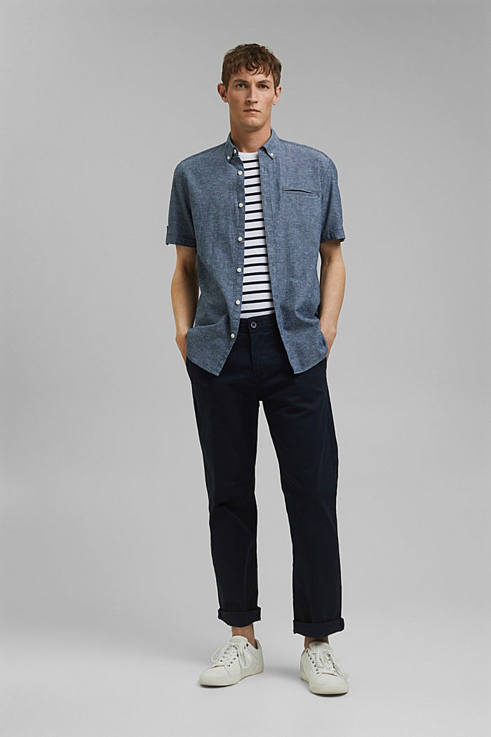 With linen: short-sleeved shirt, NAVY, detail image number 1