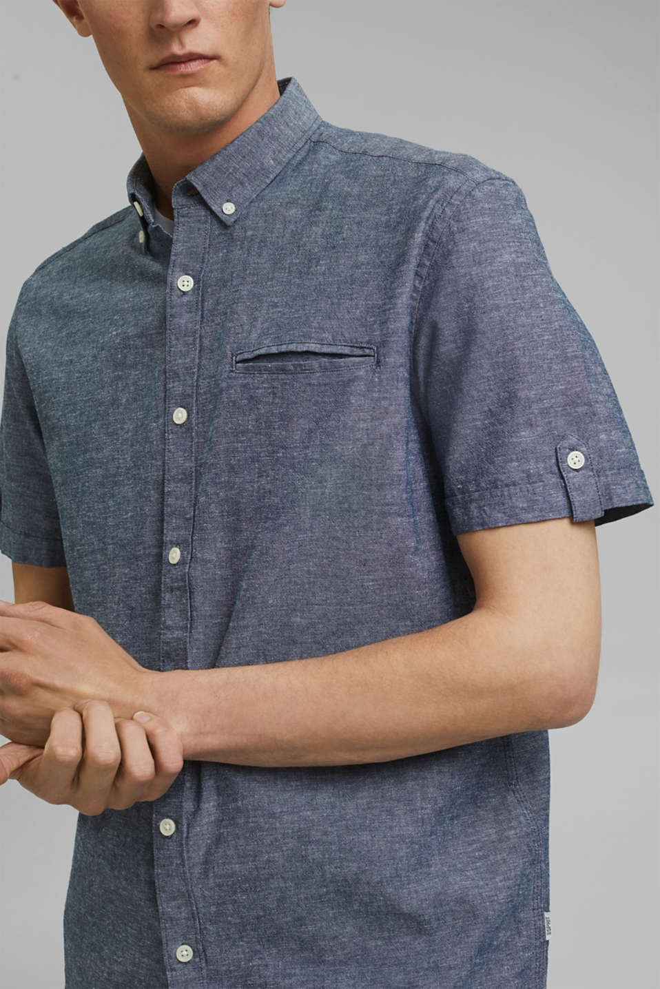 With linen: short-sleeved shirt, NAVY 5, detail image number 2