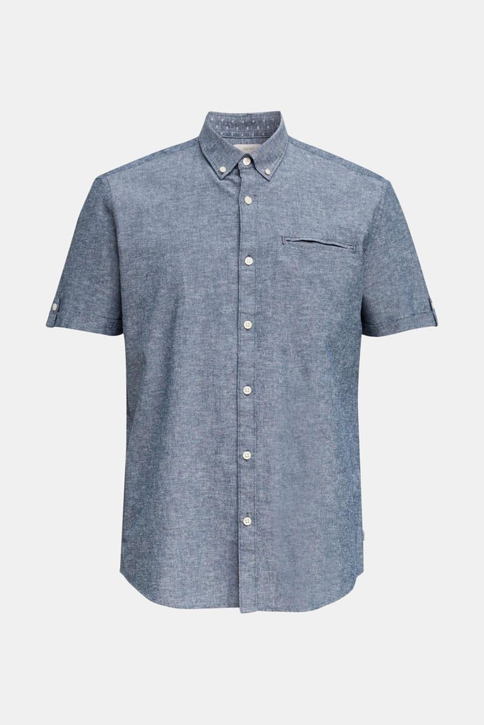 Blended linen: melange short sleeve shirt, NAVY 5, detail image number 6