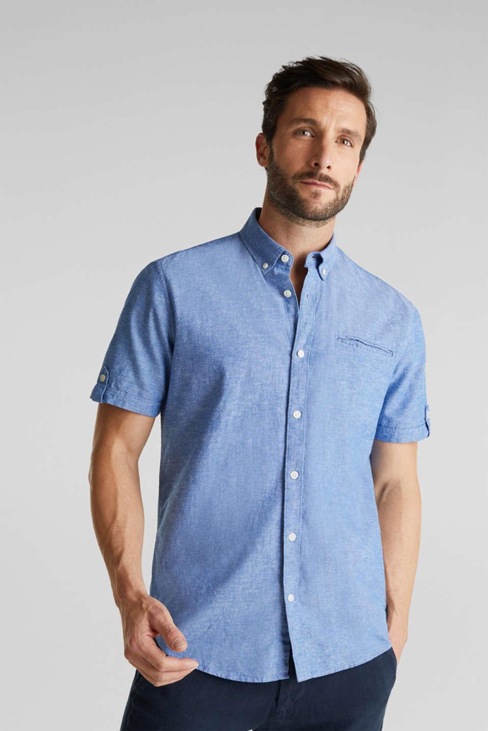 With linen: short-sleeved shirt, LIGHT BLUE 5, detail image number 0