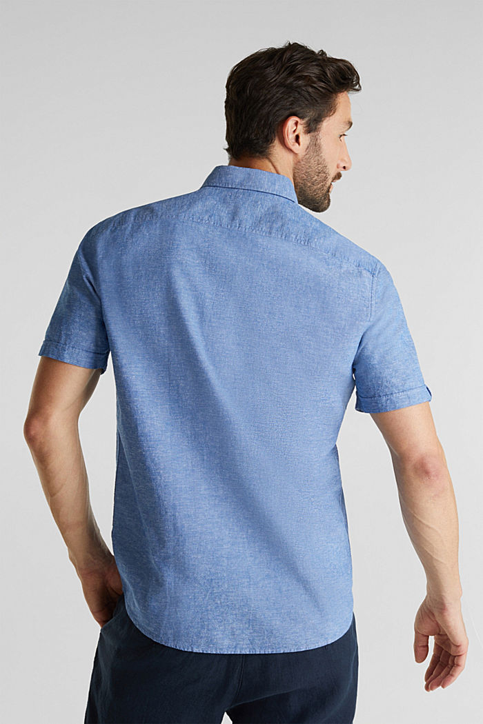 Con lino: camicia a manica corta, LIGHT BLUE, detail image number 3