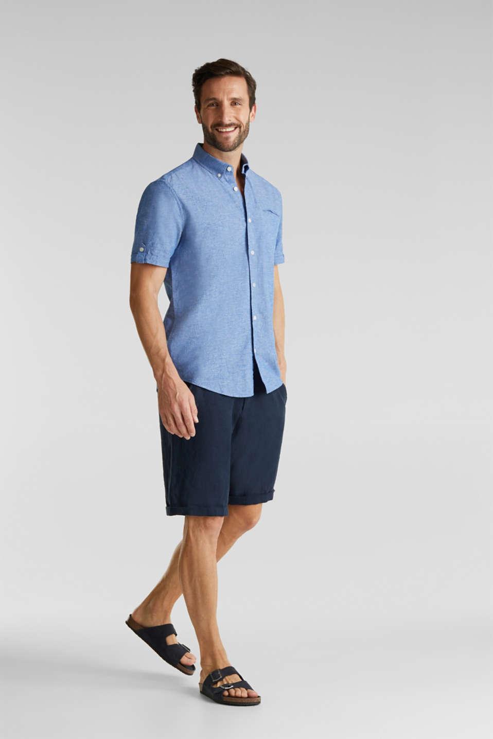 With linen: short-sleeved shirt, LIGHT BLUE 5, detail image number 1