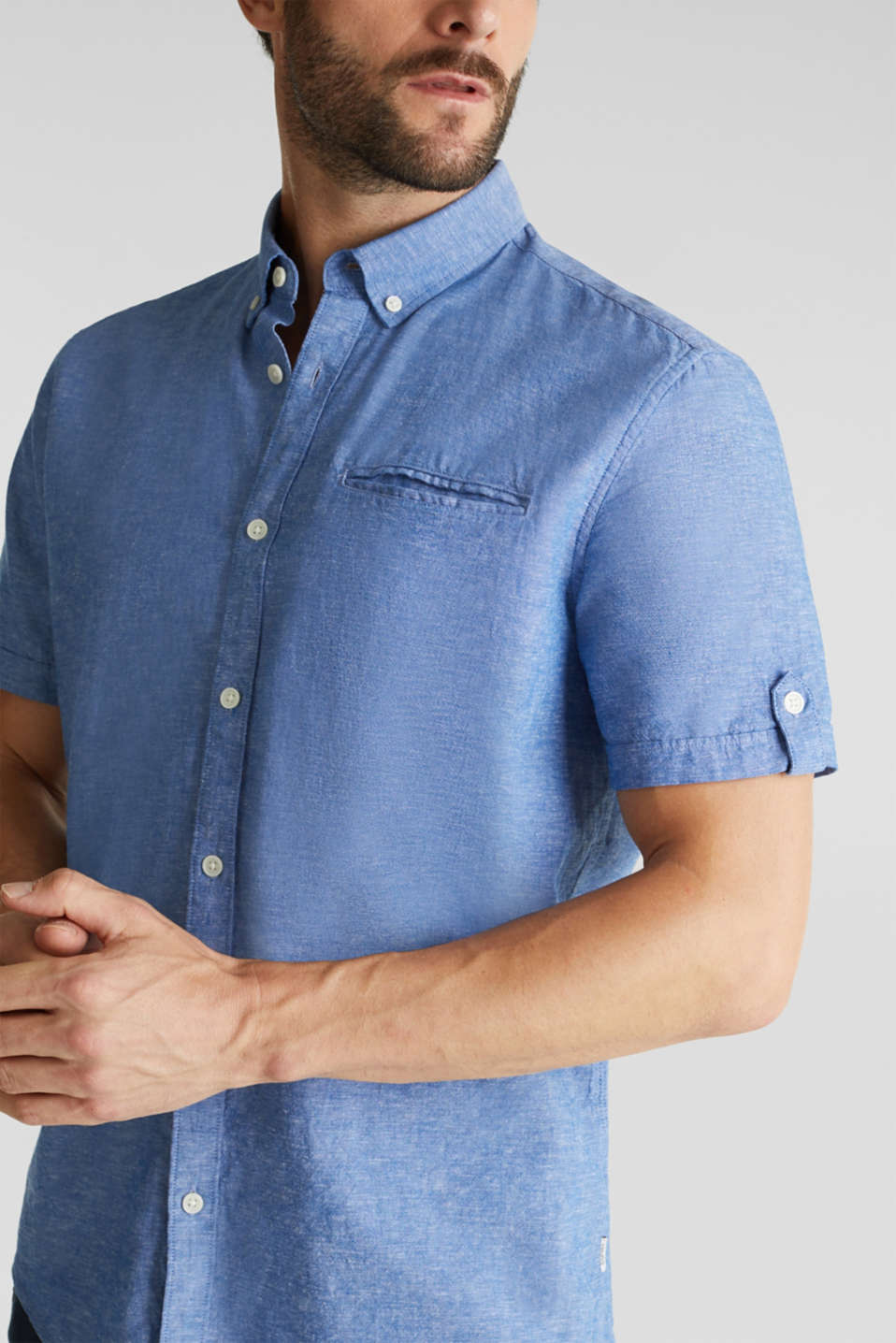 With linen: short-sleeved shirt, LIGHT BLUE 5, detail image number 2