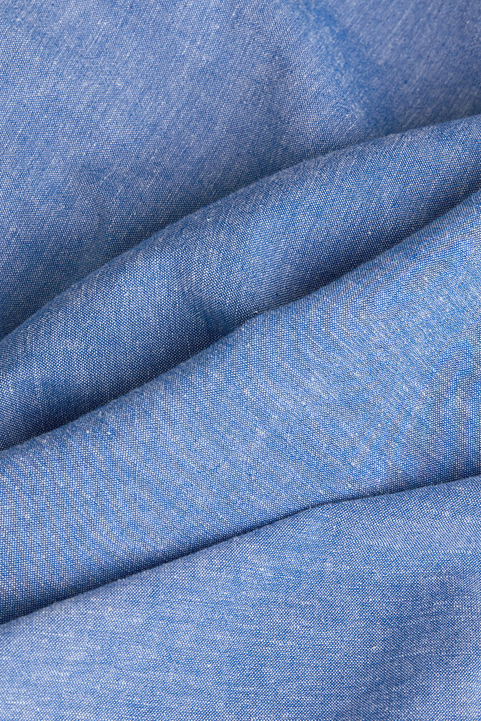 Con lino: camicia a manica corta, LIGHT BLUE, detail image number 4