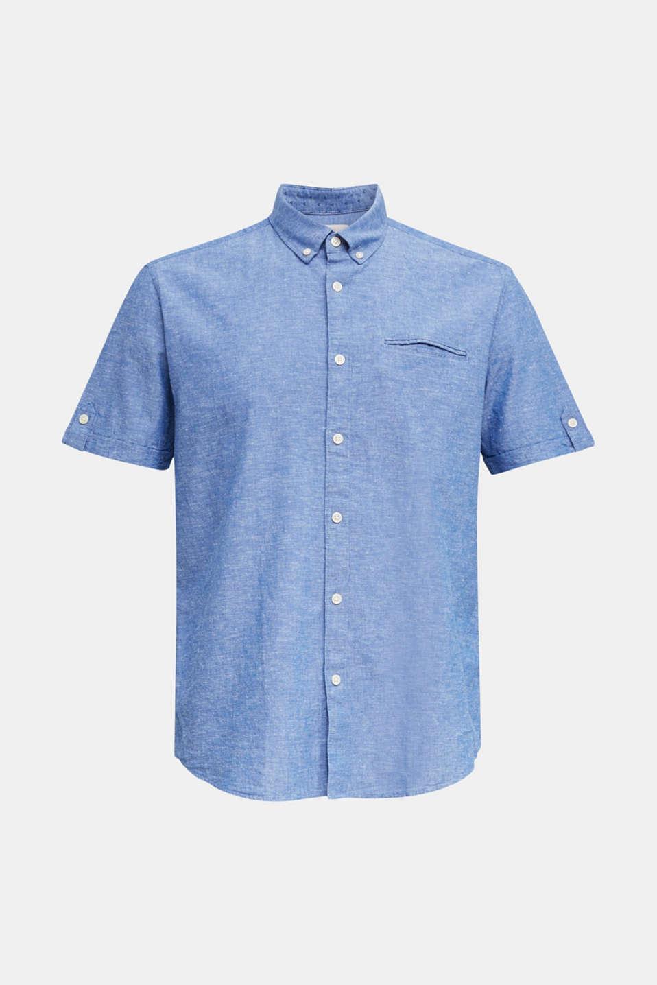 With linen: short-sleeved shirt, LIGHT BLUE 5, detail image number 6