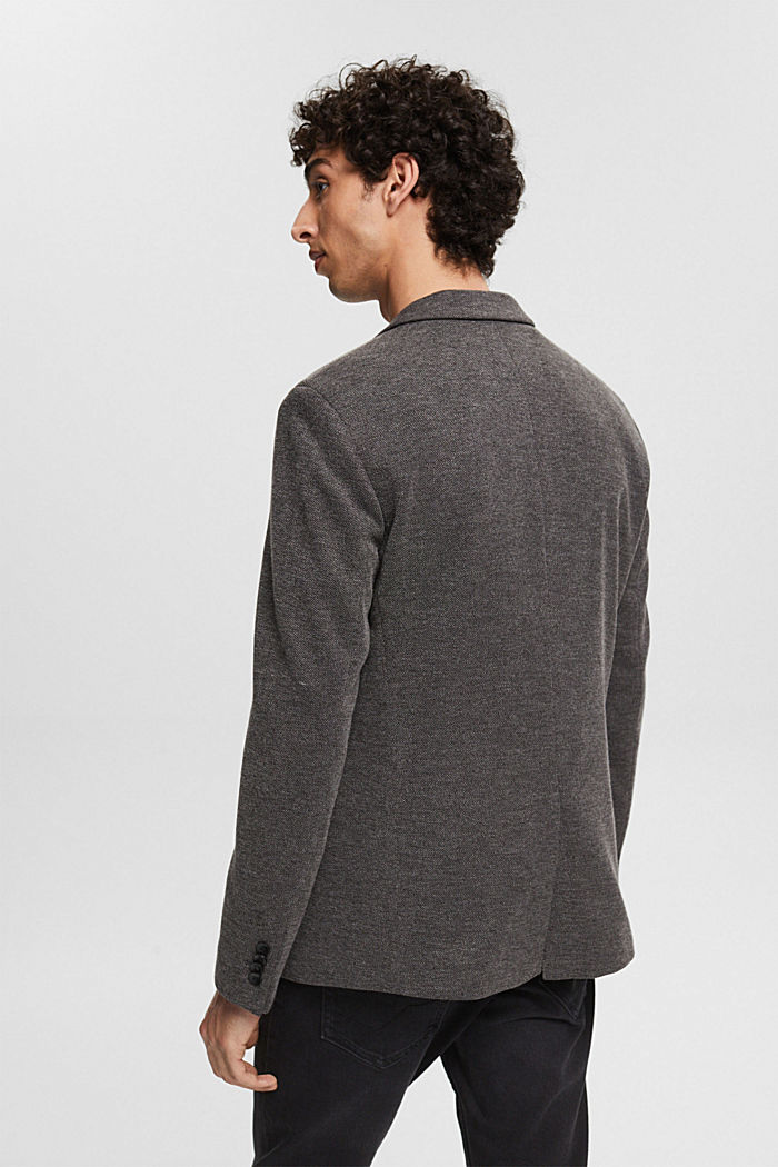 Sports jacket in a piqué finish, DARK GREY, detail image number 3