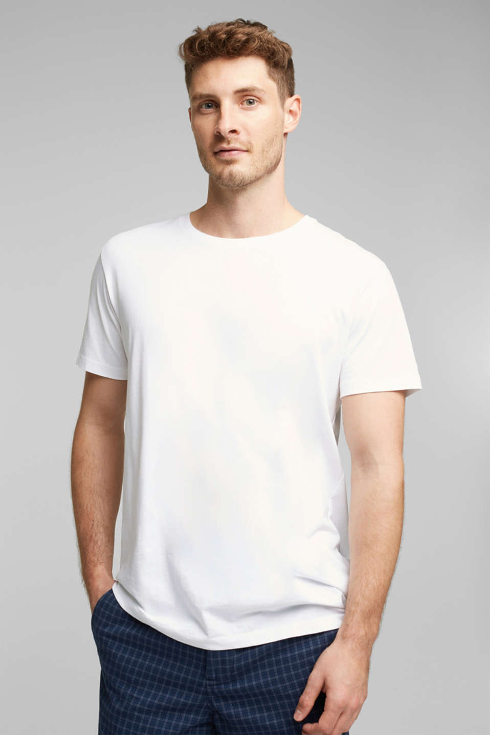 Jersey T-shirt in a basic look, 100% cotton, WHITE, detail image number 0