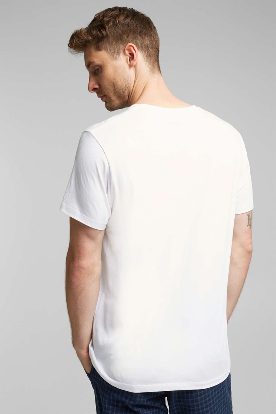 Jersey T-shirt in a basic look, 100% cotton, WHITE, detail image number 3