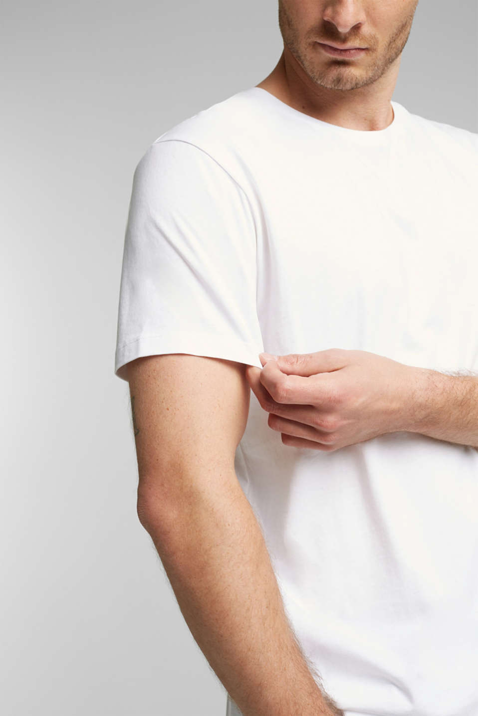 Jersey T-shirt in a basic look, 100% cotton, WHITE, detail image number 1