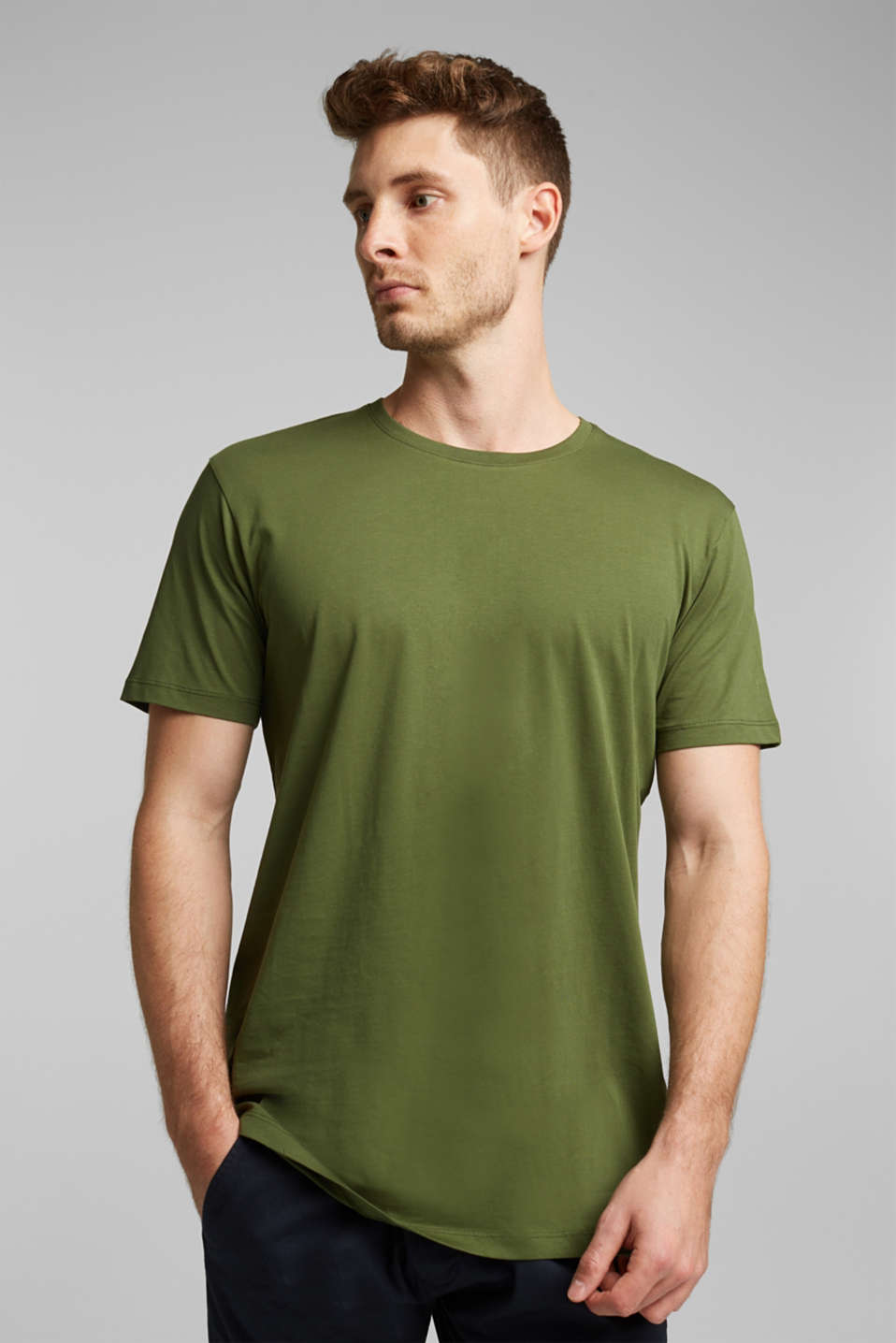 Jersey T-shirt in 100% cotton, KHAKI GREEN, detail image number 0