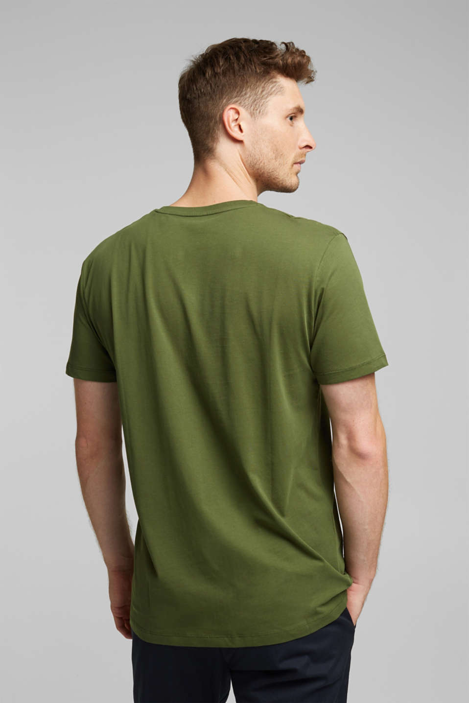Jersey T-shirt in 100% cotton, KHAKI GREEN, detail image number 3