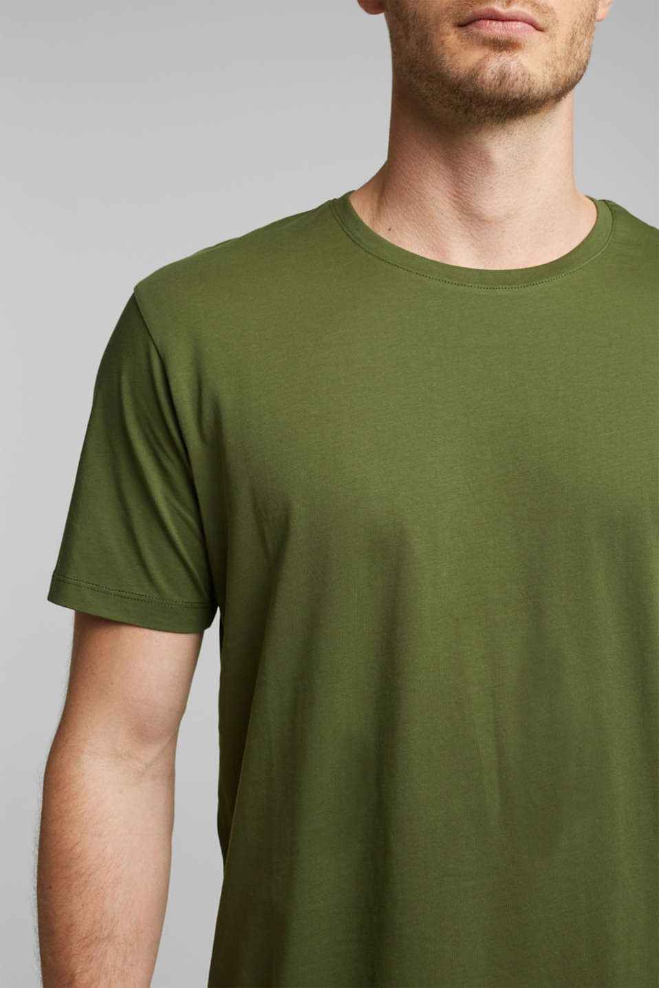 Jersey T-shirt in 100% cotton, KHAKI GREEN, detail image number 1
