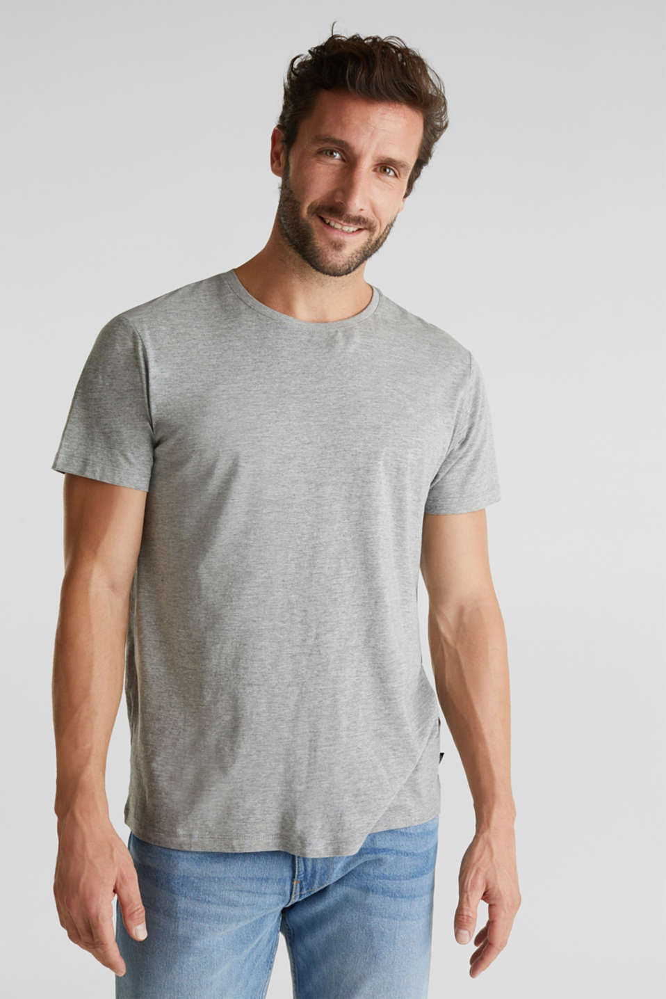 jersey T-shirt with a round neckline, MEDIUM GREY 5, detail image number 0