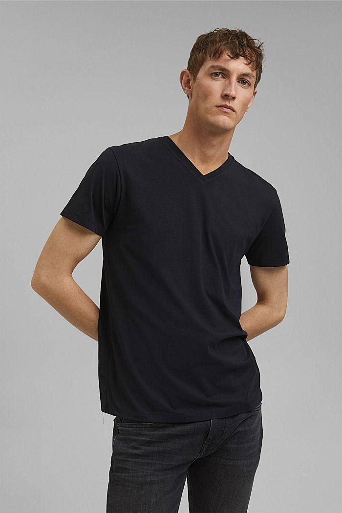 Jersey-Shirt aus 100% Baumwolle, BLACK, detail image number 0