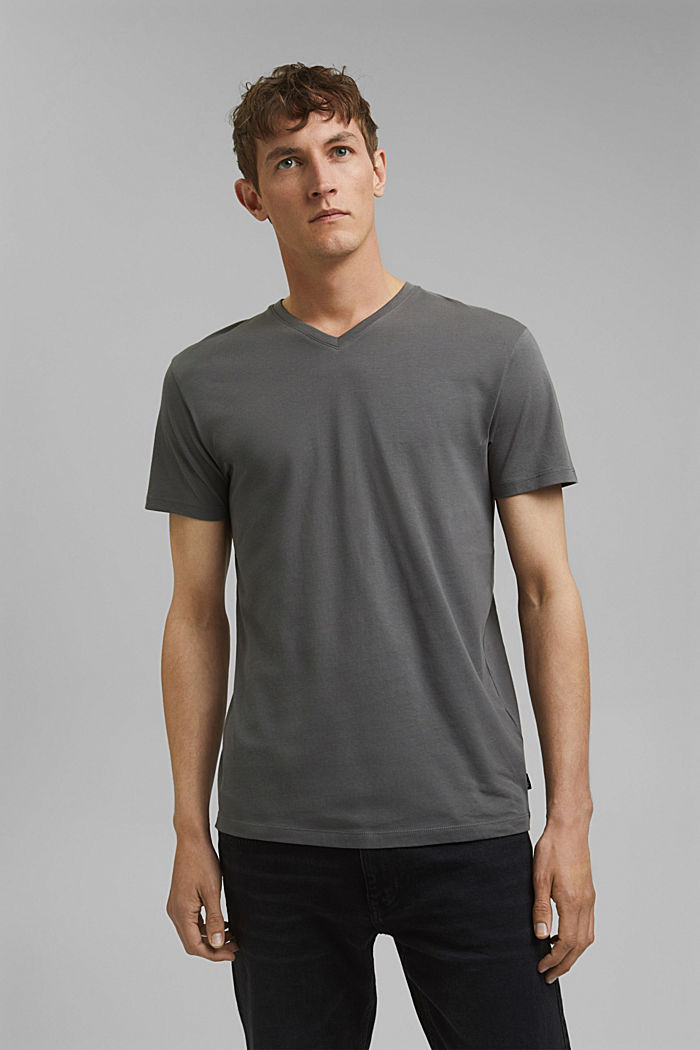 Jersey T-shirt in 100% cotton, DARK GREY, detail image number 0
