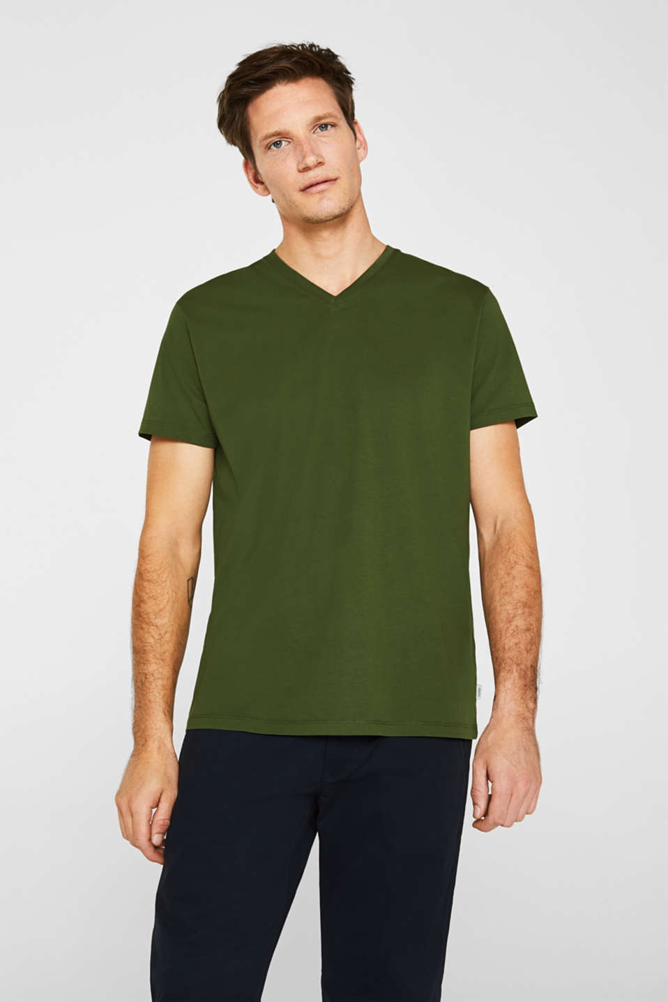 Jersey T-shirt in 100% cotton, KHAKI GREEN, detail image number 0