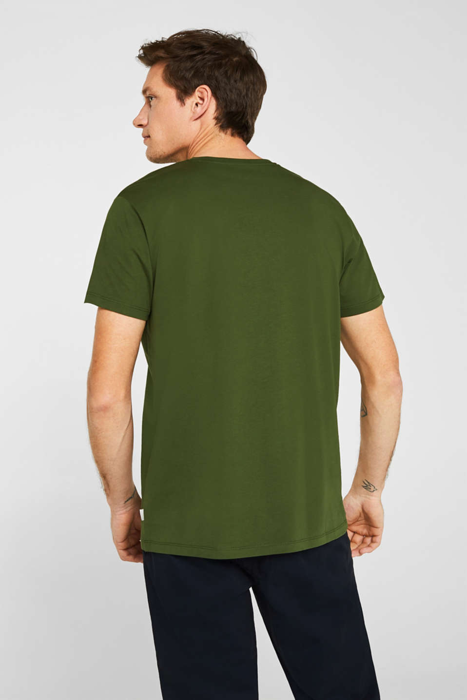 Jersey T-shirt in 100% cotton, KHAKI GREEN, detail image number 3