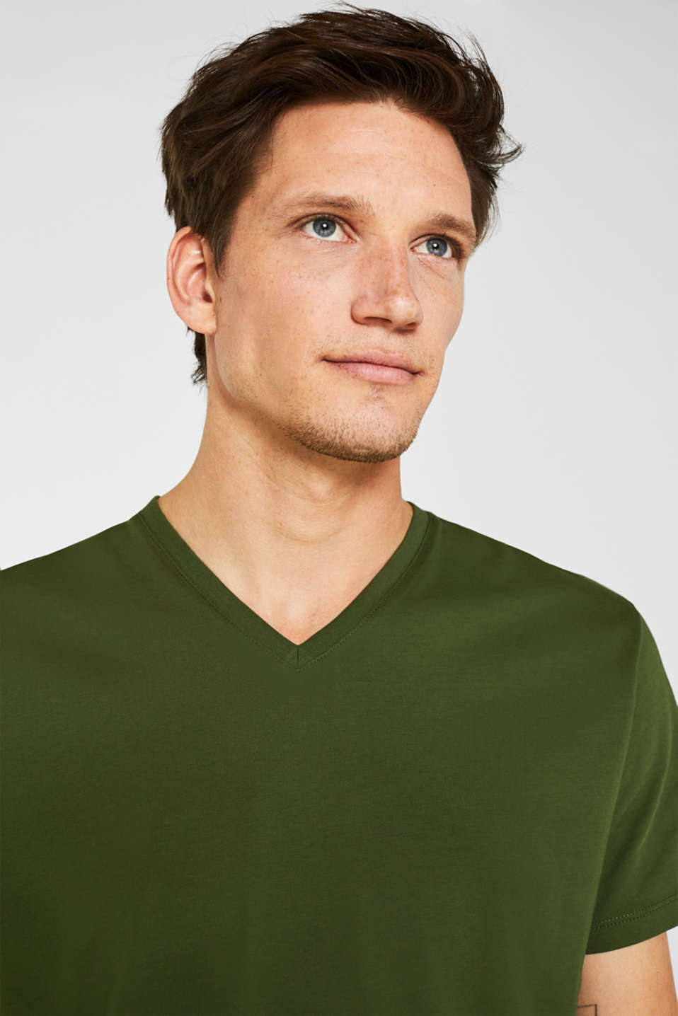 Jersey T-shirt in 100% cotton, KHAKI GREEN, detail image number 6