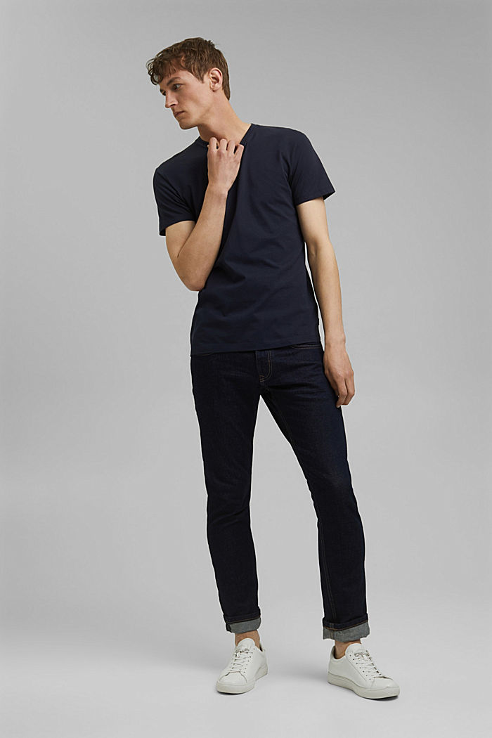 Jersey-Shirt aus 100% Baumwolle, NAVY, detail image number 2