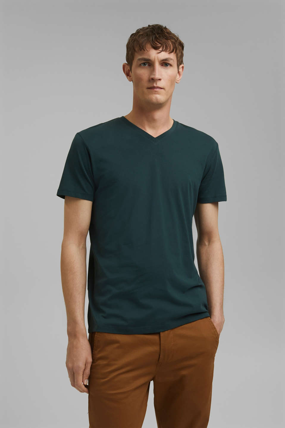 Jersey T-shirt in 100% cotton, TEAL BLUE, detail image number 0