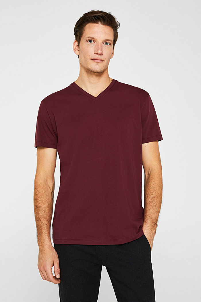 Jersey T-shirt in 100% cotton, BORDEAUX RED, detail image number 0
