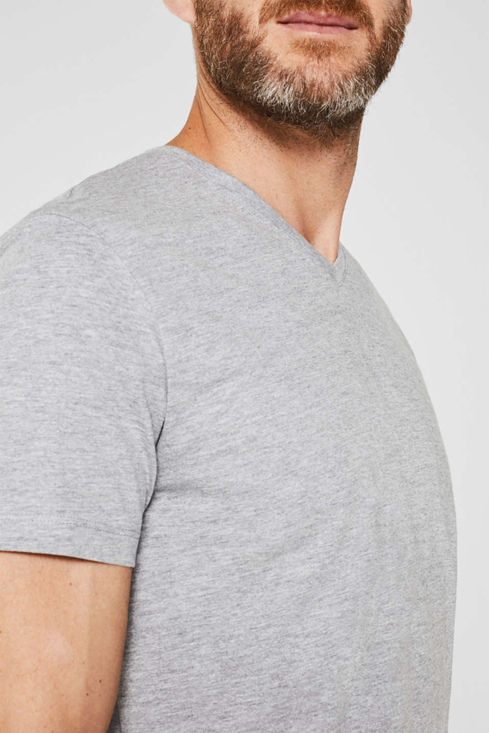 Jersey T-shirt with a V-neckline, MEDIUM GREY 5, detail image number 1