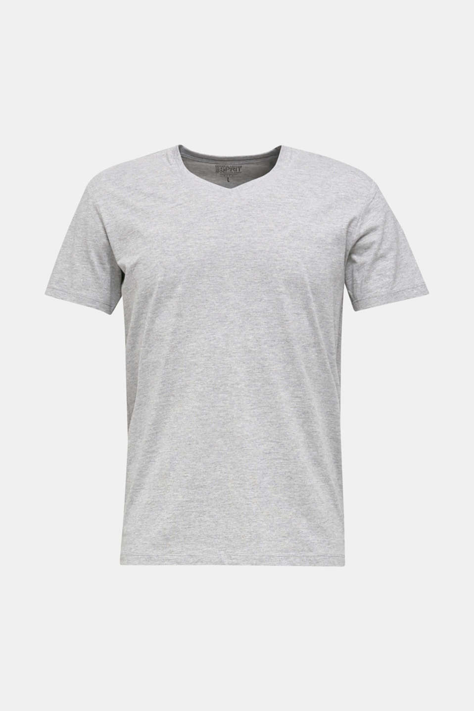 Jersey T-shirt with a V-neckline, MEDIUM GREY 5, detail image number 5