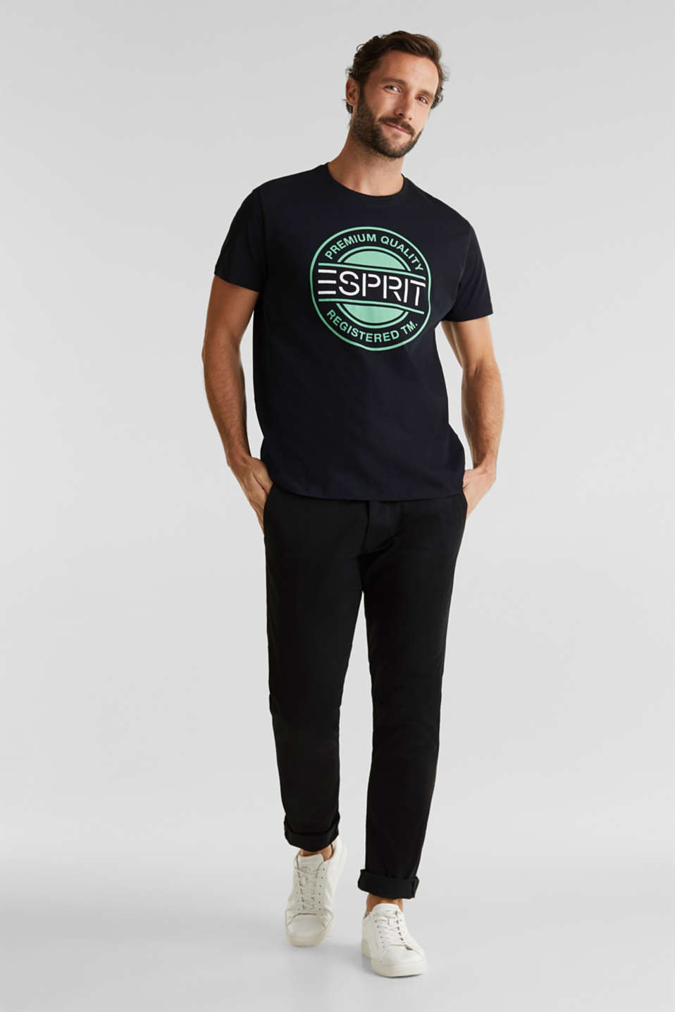 Jersey T-shirt with a logo print, 100% cotton, BLACK, detail image number 1