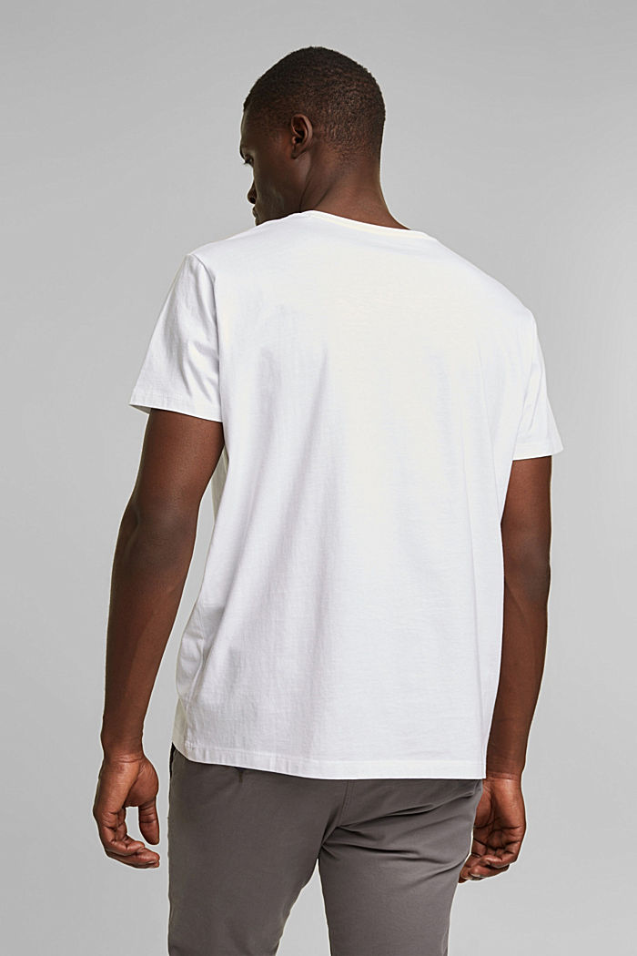 Jersey T-shirt with a logo print, 100% cotton, WHITE, detail image number 3