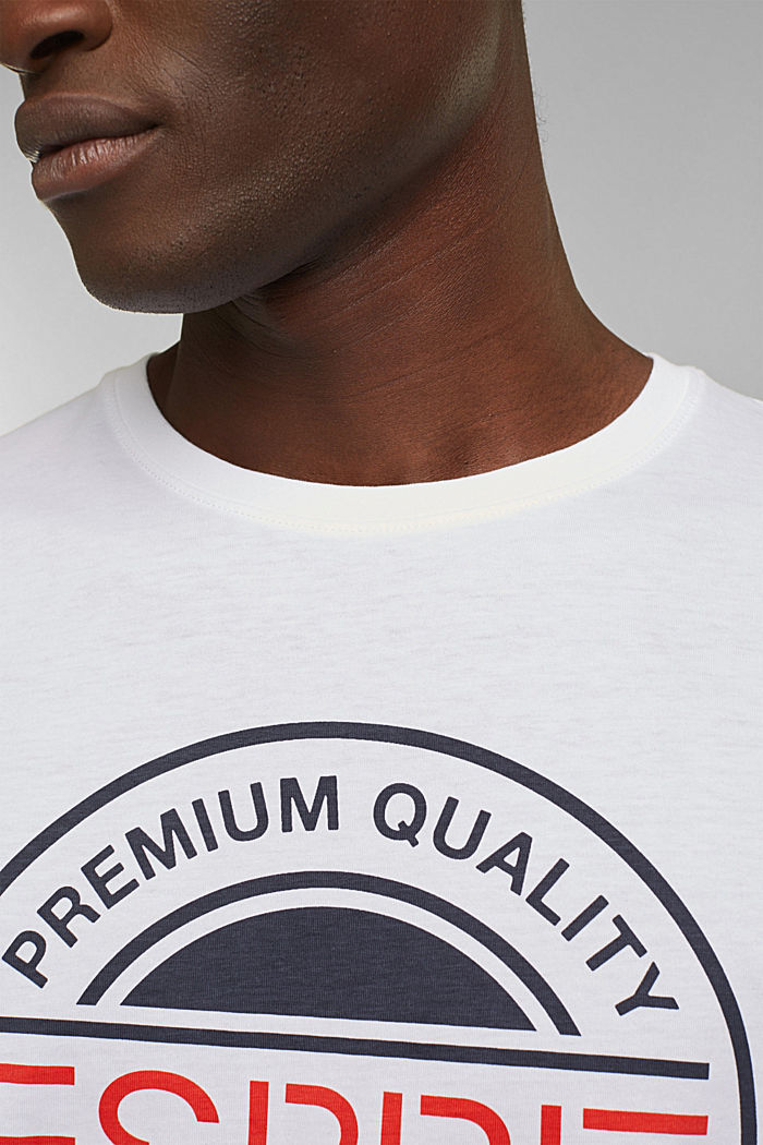Jersey T-shirt with a logo print, 100% cotton, WHITE, detail image number 1