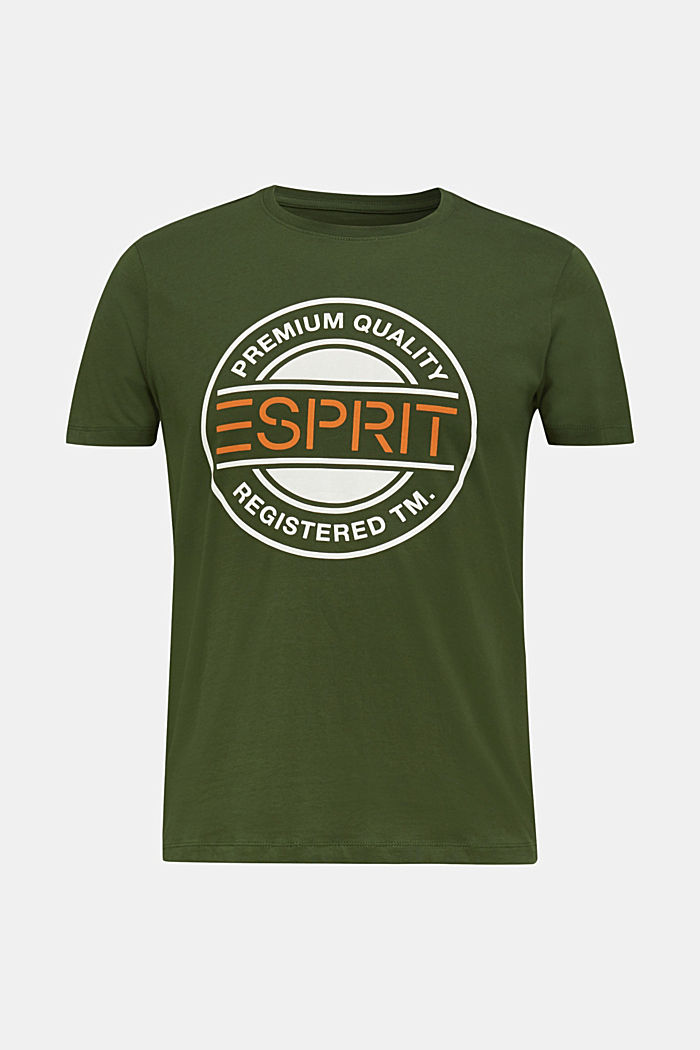 Jersey T-shirt with a logo print, 100% cotton, KHAKI GREEN, detail image number 0