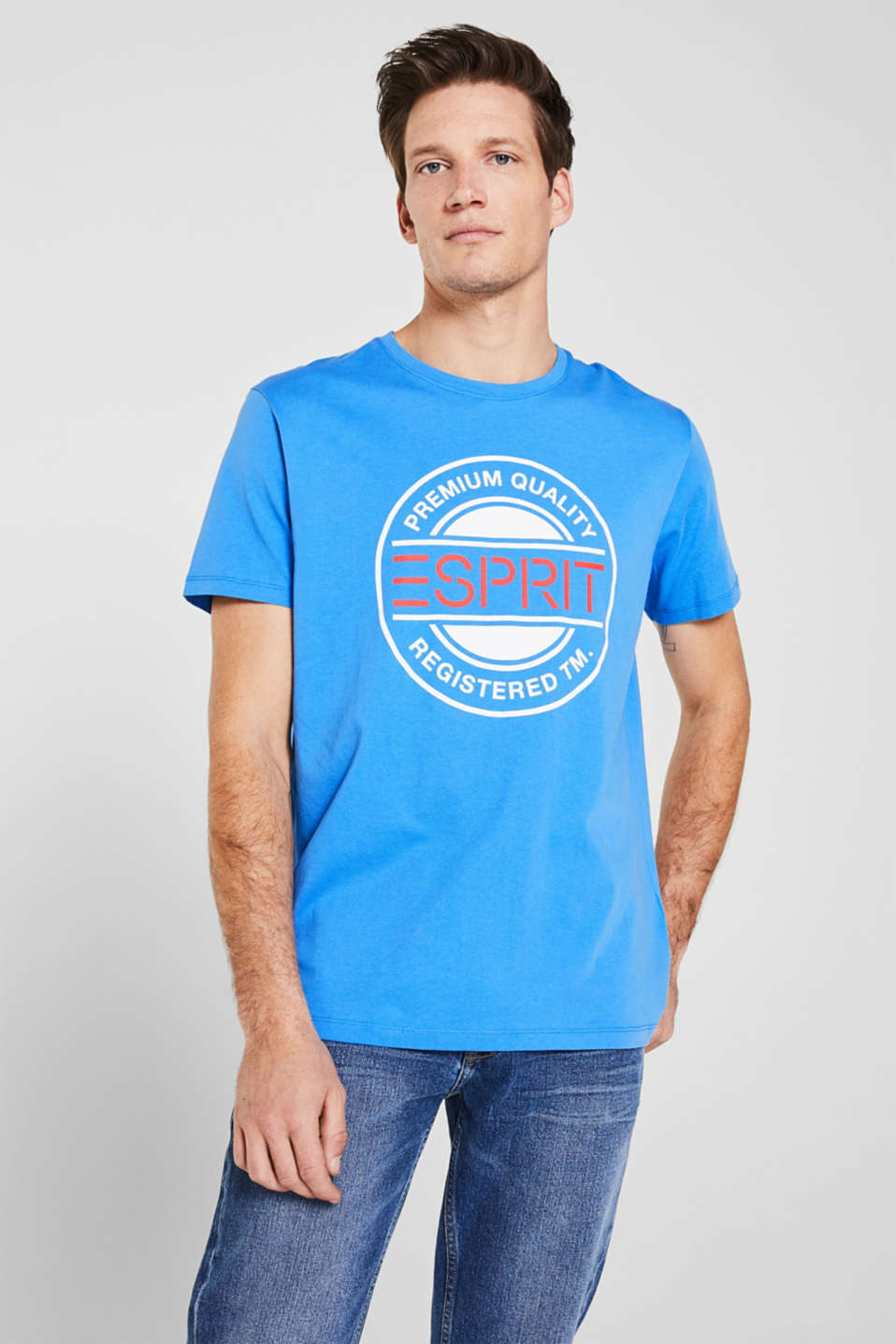 Jersey T-shirt with a logo print, 100% cotton, BRIGHT BLUE, detail image number 0