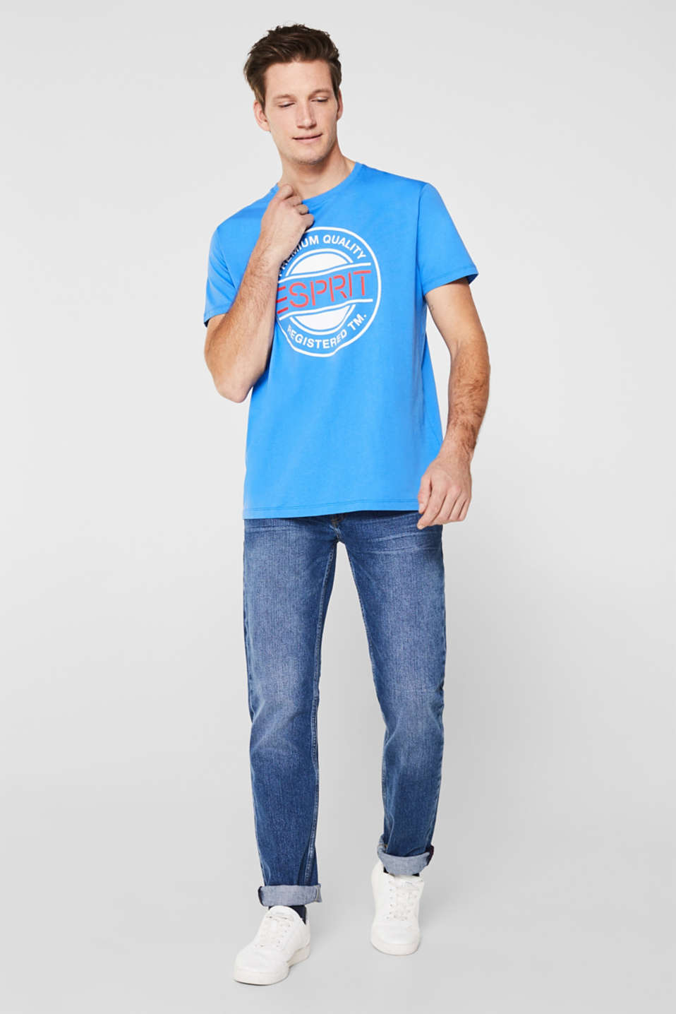 Jersey T-shirt with a logo print, 100% cotton, BRIGHT BLUE, detail image number 4