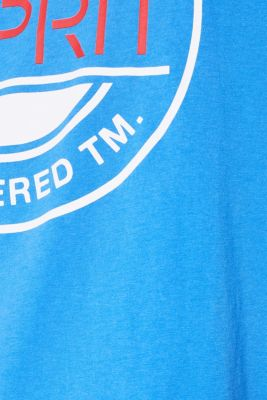 Jersey T-shirt with a logo print, 100% cotton, BRIGHT BLUE, detail