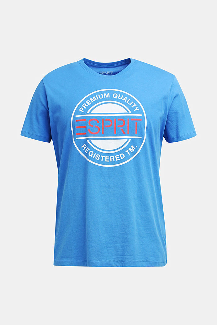 Jersey-T-Shirt mit Logo-Print, 100% Baumwolle, BRIGHT BLUE, detail image number 7