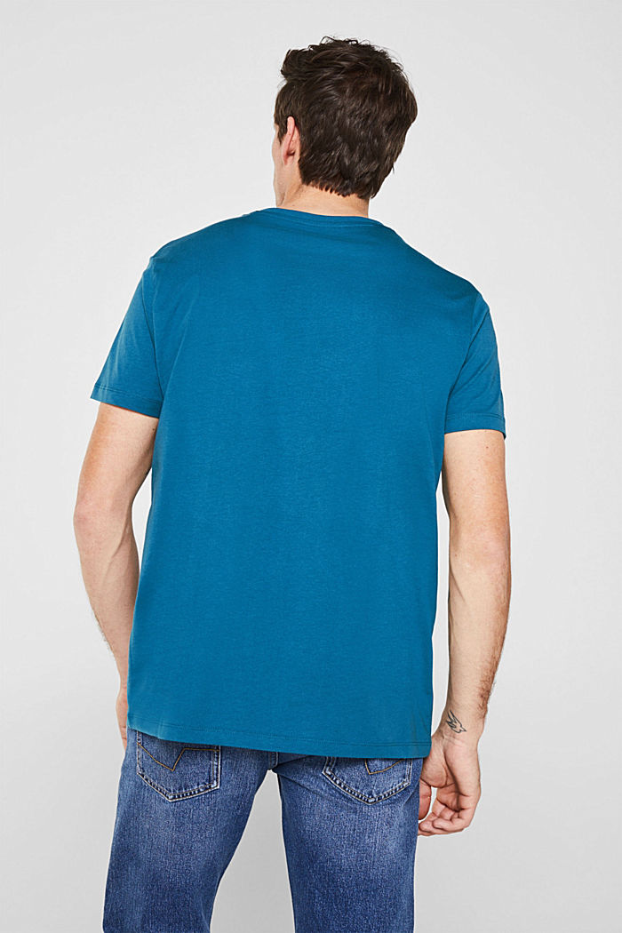 Jersey T-shirt with a logo print, 100% cotton, PETROL BLUE, detail image number 2