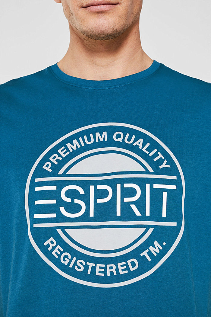 Jersey T-shirt with a logo print, 100% cotton, PETROL BLUE, detail image number 4