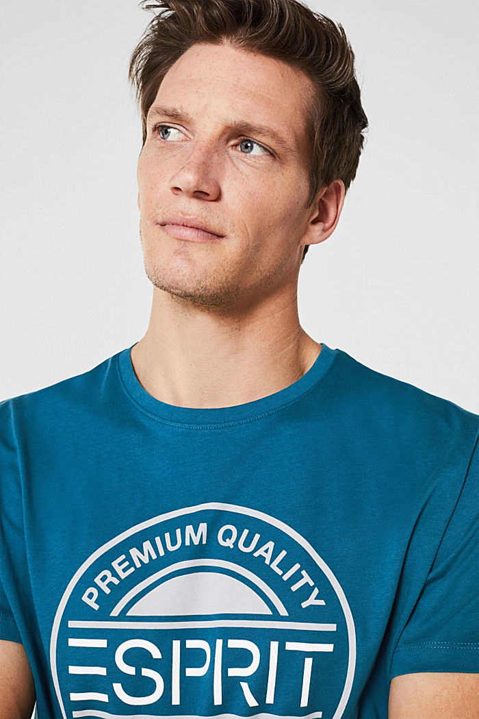 Jersey T-shirt with a logo print, 100% cotton, PETROL BLUE, detail image number 5