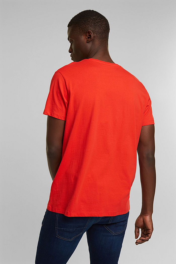 Jersey T-shirt with a logo print, 100% cotton, ORANGE RED, detail image number 3