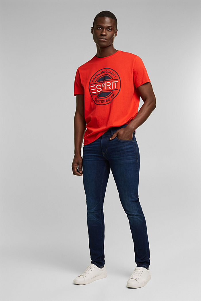 Jersey T-shirt with a logo print, 100% cotton, ORANGE RED, detail image number 2
