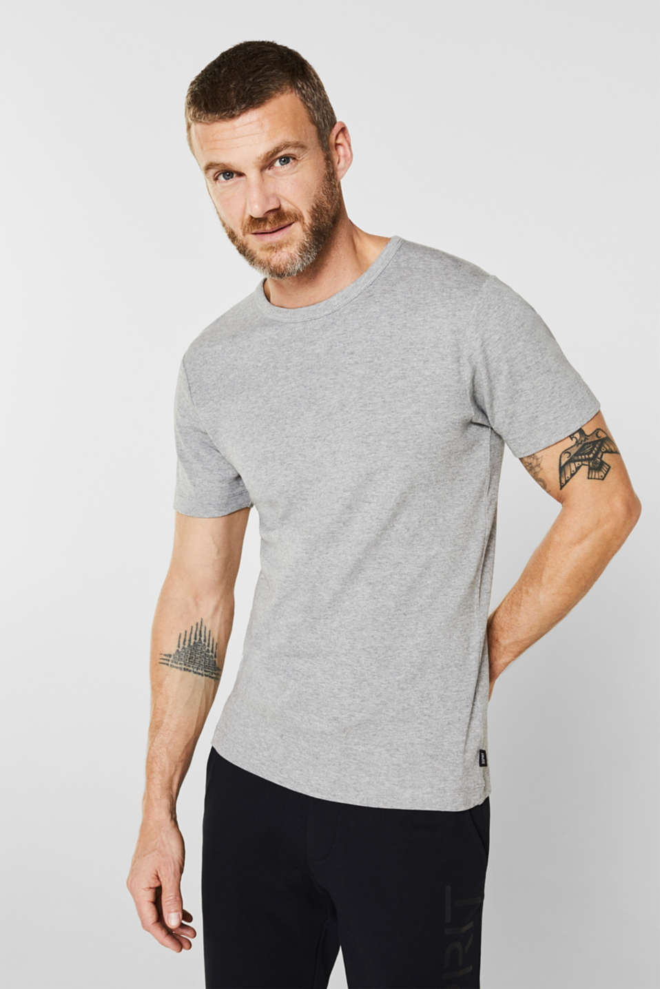 Esprit - Ribbed T-shirt in blended cotton